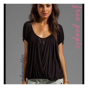 Free People Ann's Ruched Top, Black, Medium